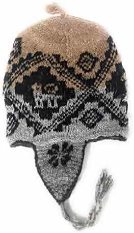 e5ac305938b 100% Alpaca Handknit Peruvian Chullo Earflap Hat Traditional Designs Undyed  Natural Alpaca Wool Tan