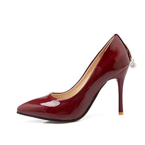 Couleur Stylet Légeres Rouge Vineux Tire Unie Agoolar Femme Pointu Verni Chaussures qwXxWP6U7