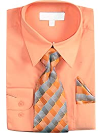 Men's Basic Dress Shirt with a VARYING Woven Tie and Hanky Set