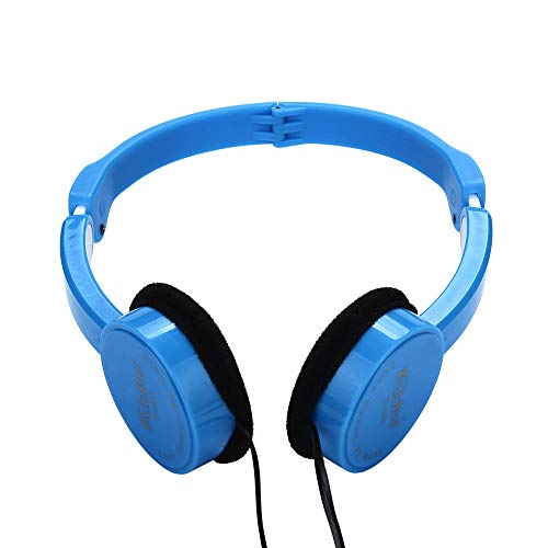 Sconary Children Wire Headphones 3.5MM Port Over-Ear Foldable Portable Stereo Headset for Kids Girls Boys Teens Adults 5colors (Blue)