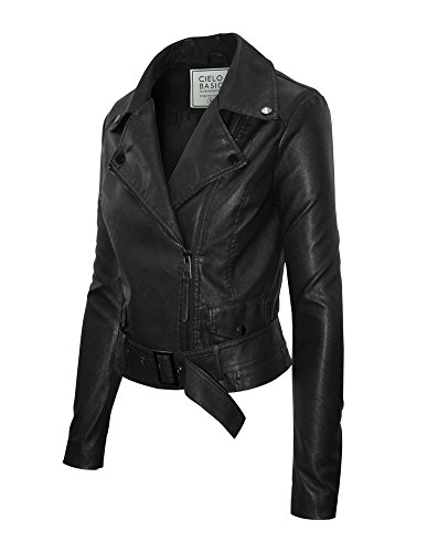 Double Breasted Belted Leather Jacket - 4