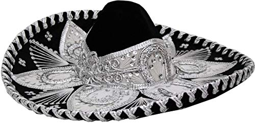Authentic Adult Mexican Sombrero Mariachi Charro Hat, Premium Mexican Hat for Costume Parties, 5 de Mayo, 16 de Septiembre (Black and White Child)]()