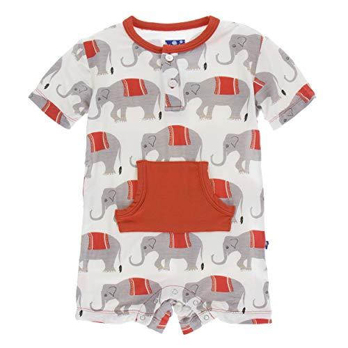 (Kickee Pants Little Boys Print Short Sleeve Kangaroo Romper - Natural Indian Elephant, 18-24 Months)