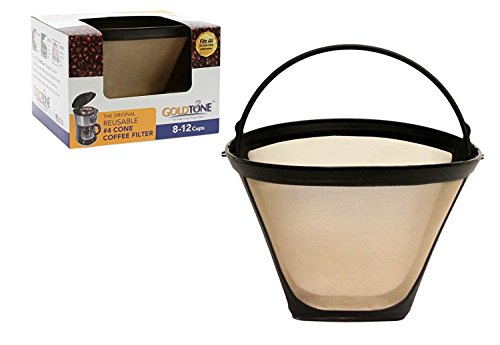 GoldTone Brand Reusable No.4 Cone Style Replacement Cuisinart Coffee Filter replaces your Permanent Cuisinart Coffee Filter for Cuisinart Machines and Brewers (1 Pack) (One Cup Filter Coffee Maker)