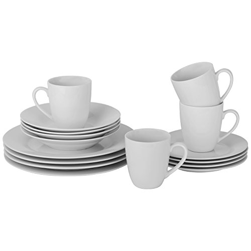10 Strawberry Street Simply Round 16 Piece Dinnerware Set, White