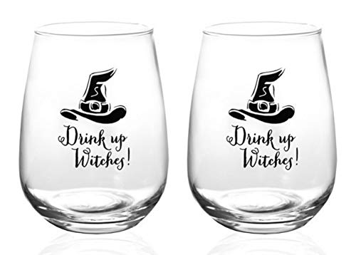 (Stemless Wine Glasses Set of 2 – Drink Up Witches Glass Tumbler 17 oz – Funny Sayings Goblet for Woman – All Purpose Red or White Wine Glassware - Cute)