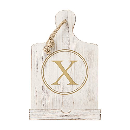 Cathy's Concepts Personalized Wooden iPad & Recipe Stand, White, Letter X