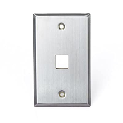 Leviton 43080-1S1 QuickPort Wallplate, Single Gang, 1-Port, Stainless Steel