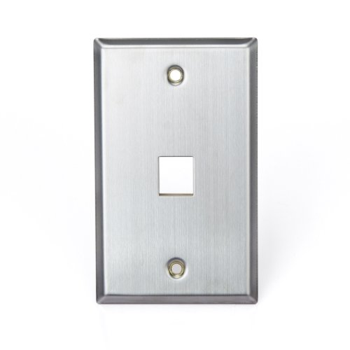 - Leviton 43080-1S1 QuickPort Wallplate, Single Gang, 1-Port, Stainless Steel