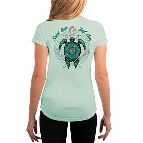SAND.SALT.SURF.SUN. Mandala Turtle Women's UPF 50+ Short Sleeve T-Shirt XX-Large Seagrass ()