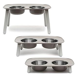 Messy Mutts Elevated Dog Feeder, Grey