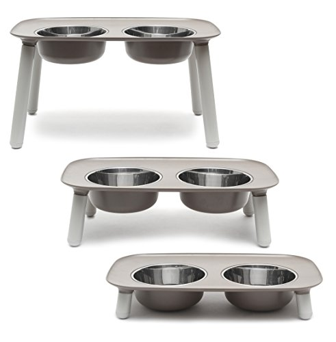 Messy Mutts Elevated Dog Feeder, Grey