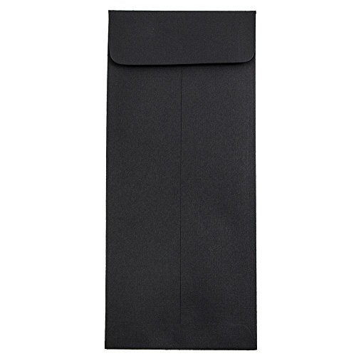 "JAM Paper #10 Open End Policy Envelope - 4 1/8"" x 9 1/2"" - Black Linen - 25/pack"
