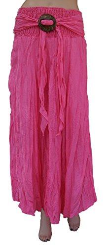 """Knack Women's Long Full Crinkle Cotton Skirt & Coconut Shell Buckle Waist 22""""/56cm to 35""""/88cm. (Pink)"""