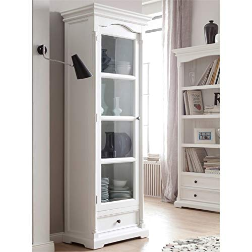 NovaSolo Provence Pure White Mahogany Wood Cabinet With Glass Door, 4 Shelves And Drawer
