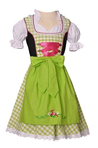 Kinderdirndl Bodenkirchen grün/pink/schwarz Trachtenset 3-tlg. Bayer Madl