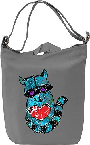 Raccoon Love Borsa Giornaliera Canvas Canvas Day Bag| 100% Premium Cotton Canvas| DTG Printing|