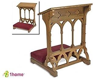 Oakwood Padded Prayer Kneeler Home Or Church Altar And Pew Pulpit  Meditation Furniture By 1home
