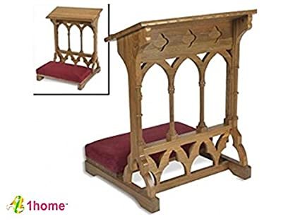 Oakwood Padded Prayer Kneeler Home Or Church Altar And Pew Pulpit  Meditation Furniture By 1home