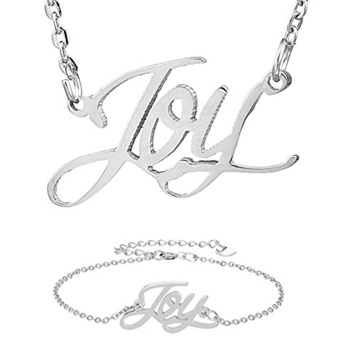 HUAN XUN Joy Name Necklace Bracelet Letter Pendant in ()