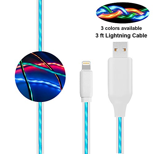 Compatible iPhone Charger Cable, BUSOH 3FT Led Flowing Light iPhone Charger Cord Light Up Charging Cable Flash Glowing EL Flat Charge and Sync Data Wire for iPhone X/8 Plus/ 8/7 Plus/7/6s/iPad/iPod