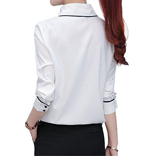 Longues Rond TLZC chemise Uni Body Blanc Femme Col Chemisier Manches fw0qS