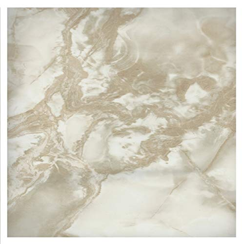 EZ FAUX DECOR Self Adhesive Vinyl Peel and Stick Riviera Beige White Faux Marble Granite Film to Update Countertop or Backsplash Thick Waterproof 36