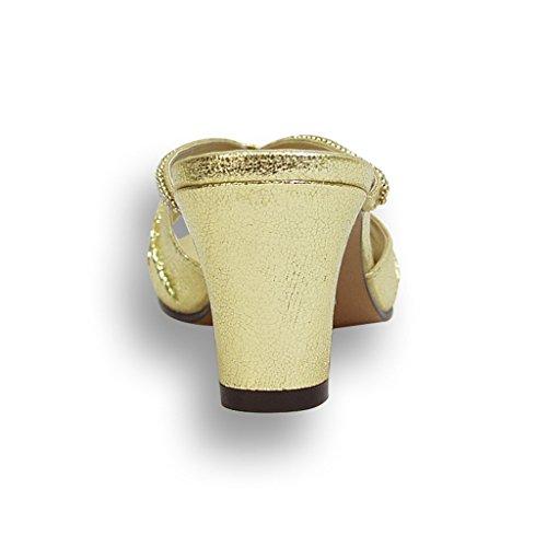 Fic Floral Chrissy Kvinner Bred Bredde Skinnende Slip På Høyhælte Kjole Sandaler (størrelse / Måling Guide Tilgjengelig) Gull