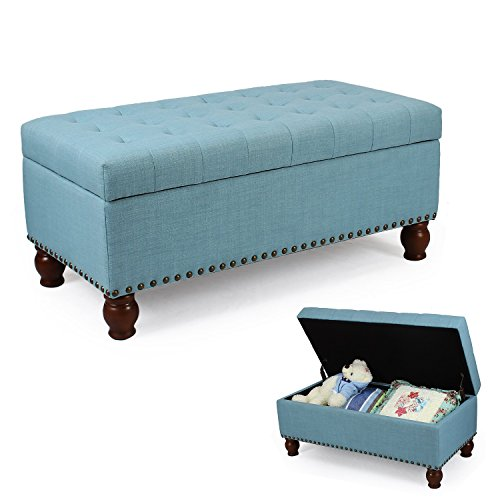 (DecentHome Rectangular Storage Bench Ottoman Footstool with Solid Wood Legs Lift Top Powder Blue)