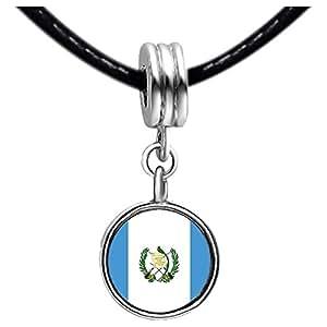 Chicforest Silver Plated Guatemala flag Photo White Crystal(April Birthstone) Flower dangle Charm Beads Bracelets European Bracelets Compatible