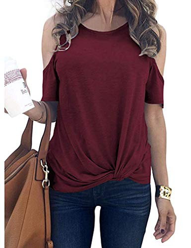 - Sherosa Women's Loose Fitting Cold Shoulder Peasant Top Blouses Juniors Clothing (XL, A-Wine Red)