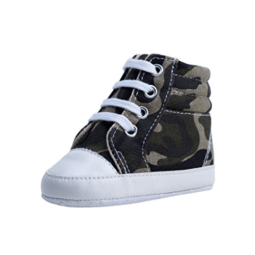 Highpot Baby Girl Boy Athletic Sneakers High Top Camouflage Canvas Shoes (Gray, 3~6 Month)