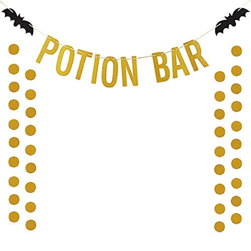 Gold Glittery Potion Bar Banner and Gold Glittery Circle Dots Garland(25pcs Circle Dots) Halloween Party Home Decor Decoration Supplies