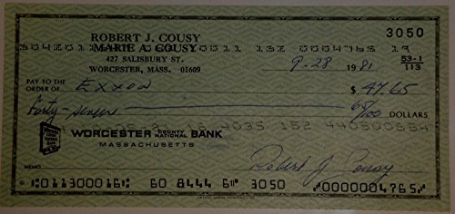 Bob Robert Cousy Hand Signed Autographed Personal Check #3050