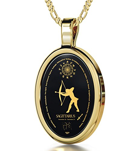 Nano Jewelry 14k Yellow Gold Zodiac Pendant Sagittarius Necklace Inscribed in 24k Gold on on Onyx Stone, 18