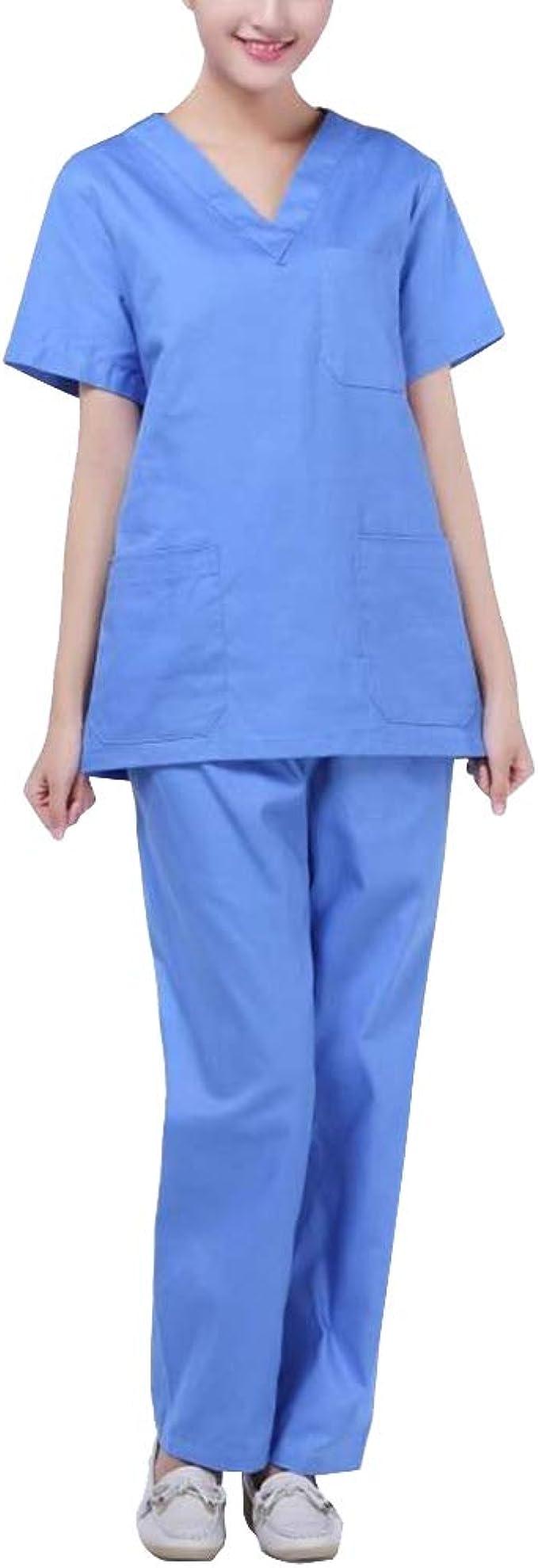 Uniforme De Manga Corta Médico Casaca Y Pantalón Mujer/Hombre Ropa para Enfermería Sanitaria Azul M