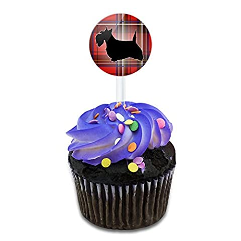 Scottie Dog on Red Plaid Scottish Terrier Cake Cupcake Toppers Picks Set - Scottie Dog Art
