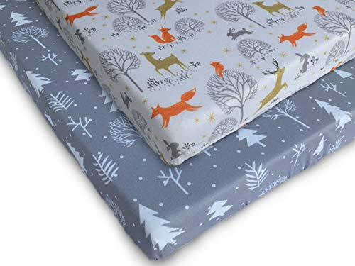 Pack n Play Fitted Pack n Play Playard Sheet Set-2 Pack Portable Mini Crib Sheets,Playard Mattress Cover,Super Soft Material, Woodland