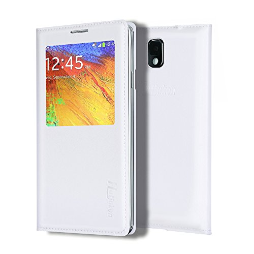 Note 3 Case, Galaxy Note 3 Case, Huijukon Elegant S-view Smart Flip Leather Case Cover with Auto Sleep/Awake Function for Samsung Galaxy Note 3 III (White)
