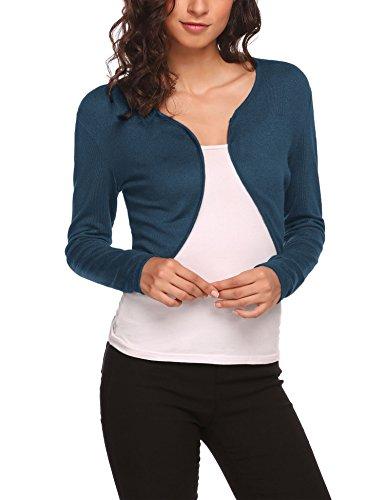 HOTOUCH Women's Plus Size Rib Trim Cardigan Shrugblue green XXL