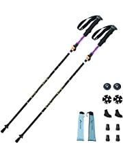 WOTOW Collapsible Trekking Poles, 1 Pair (2 Poles) Ultra-Light Traveling Hiking Walking Poles Sticks with Tungsten Steel Tip Quick Flip Lock All Terrain Accessories