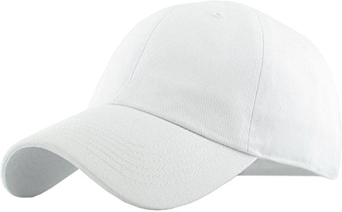(KB-LOW WHT Classic Cotton Dad Hat Adjustable Plain Cap. Polo Style Low Profile (Unstructured) (Classic) White Adjustable)