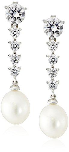 Platinum-Plated Sterling Silver Cubic Zirconia and Freshwater Cultured Pearl Drop Earrings