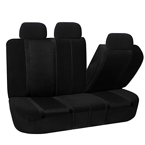 FH GROUP FH-FB070013 Sports Bench Seat Cover -Rear Split Bench, Black - Fit Most Car, Truck, Suv, or Van (Rear Down Bench Fold)