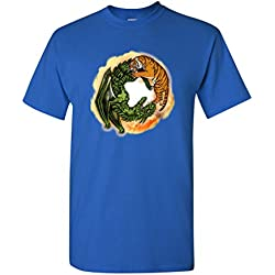 Tiger Dragon Yin Yang Symbol Tanya Ramsey Artworks Art DT Adult T-Shirt Tee (XXXXX Large, Royal Blue)