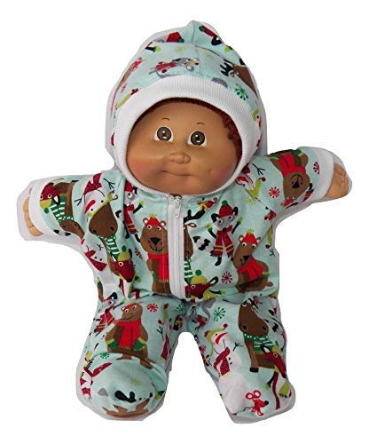 Christmas Cabbage Patch Doll Clothes Blue Aqua Snowman Woodland Animal Print Blue Pajamas Hooded Romper Moose Bear