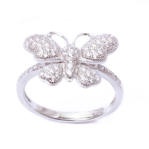 Pave Cz Butterfly .925 Sterling Silver Ring Size (Butterfly Pave Ring)