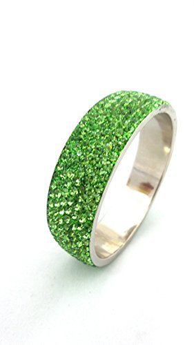 Indian Jewelry Lime Green 7 Line Lac Crystal Metal Frame Bangle Bracelet Single piece (209.3)