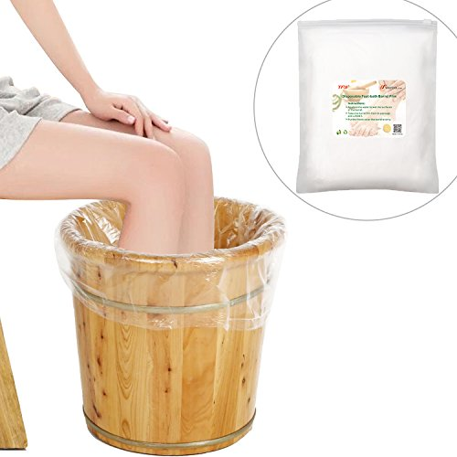 TFY Large Disposable Film Plastic Liner Bags for Foot-bath Barrel (25.5 Inch X 35.5 Inch), 20 Pieces