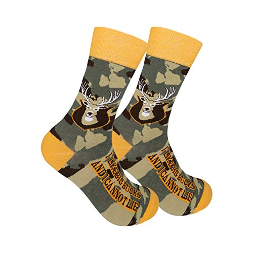 Camouflage 'I Like Big Bucks & I Cannot Lie' Crew Hunting Socks with Deer - Unisex Cotton Camo Casual Socks for Men & Women - Funny Novelty Hunter Socks - One Size Fits Most - 200 Needle Count